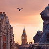 From Trafalgar Square at sunset. This photgraph is 'out of the camera' and is not a Photoshop composite. A 400mm lens was used to compress the image.