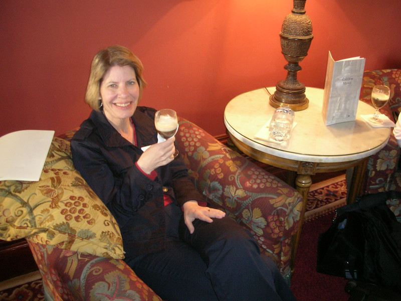 Enjoying Irish coffee at Dromoland Castle