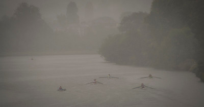 Rowing in heavy rain, Kingston