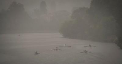 Rowing in heavy rain, Kingston