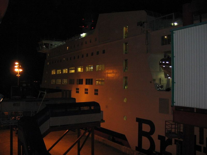 Just after boarding the Portsmouth-Cherbourg ferry, a Brittany Frries ship docked alongside.