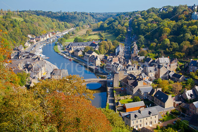 The lower town and harbor at Dinan, Brittany