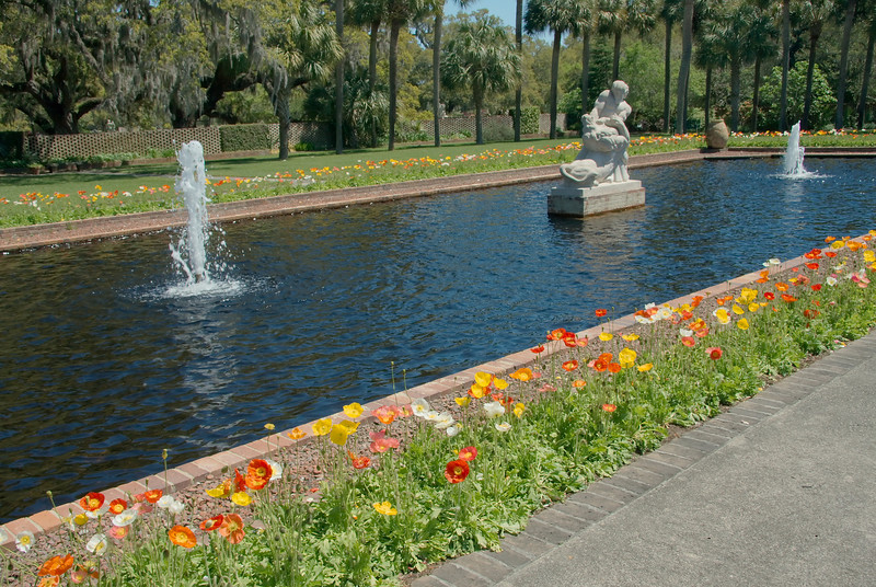 Samson and the Lion, Fountains and pool, Palmetto Garden