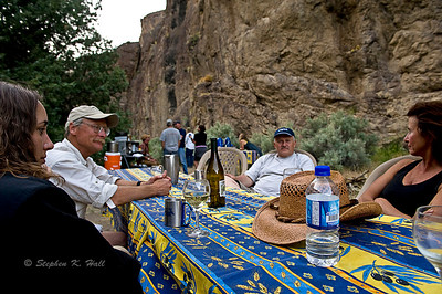 Conversation and wine before dinner. Bruneau River, Idaho Far and Away Adventures