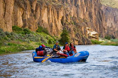 Bruneau River Canyon and raft, morning light Far and Away Adventures