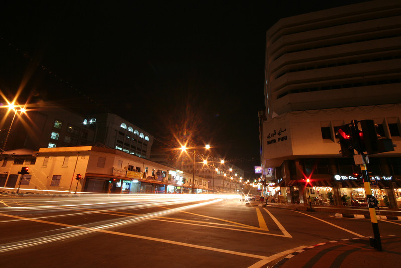 Intersection of Jalan Sultan and Jalan Pemancha, Bandar Seri Begawan, Brunei. View from the northwest. This is the busiest traffic intersection in Brunei at 9pm on a weekday evening.