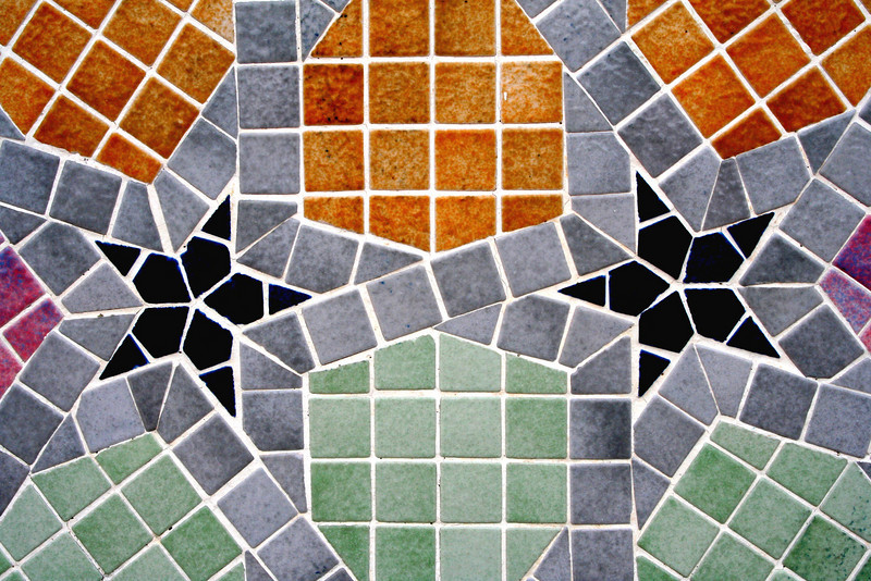 Detail of wall tiling created by Moroccan craftsmen, Hassanal Bolkiah Mosque, Bandar Seri Begawan, Brunei.