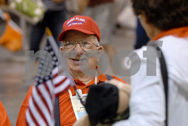 -Messenger photo by Hans Madsen<br /> <br /> Aubrey King, of Manson, is all smiles while waiting to board the Brushy Creek Area Honor Flight at the Fort Dodge Regional Airport Saturday morning. King served in the Army during the Korean War.