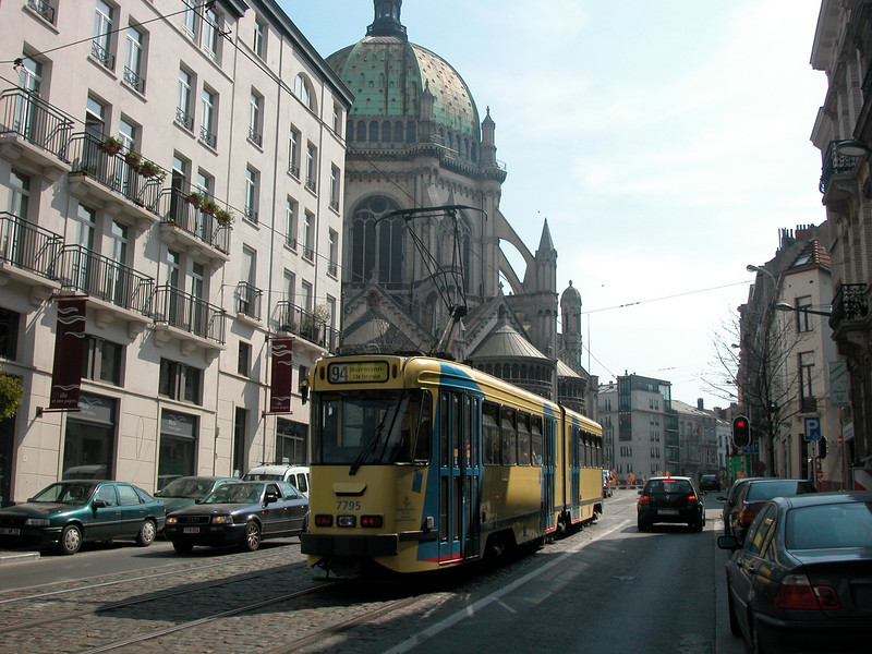 Brussels is modernising it's public transportations system, but this tram is quite old..