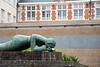 Street art installations near Meestraat Bridge, Groenerei, Bruges, Belgium. Europe.