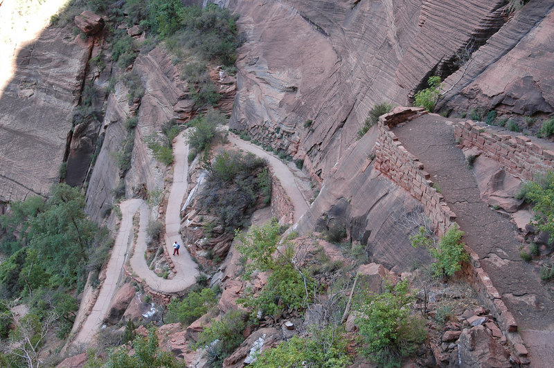 Zion National Park <br /> Angels Landing Trail<br /> Another view of switchbacks