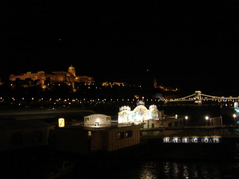 Night river scene towards Castle
