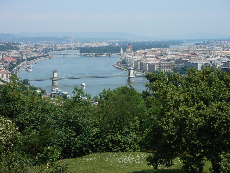 The Danube from the Citadel looking North west.This is on the Buda side looking to Pest and the Chain Bridge is in the foreground