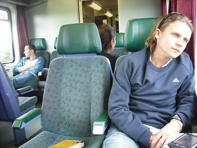 I looks like I'm enjoying the scenery on the train.  I am not.  It's quite boring and flat between Vienna and Budapest.