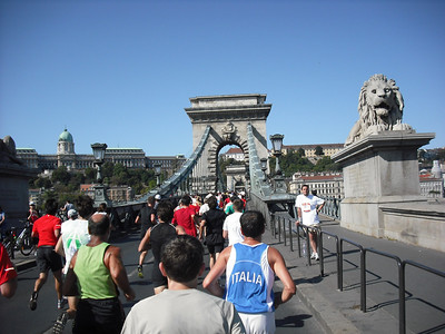 The course was as good a half-marathon as I've seen.  You really get to see the best of Budapest. Here I am going over Chain Bridge.