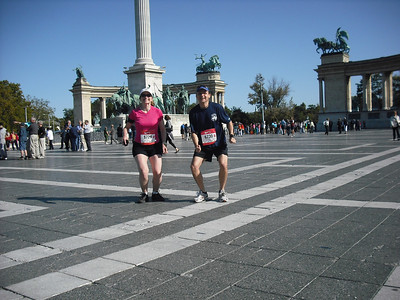 Here we are at Hero's Square in Budapest just before the race.  The Attache had this great idea that we should get a picture of us jumping, just to do something different.  Our timing was a off.  We aren't quite jumping yet.  It is different though.