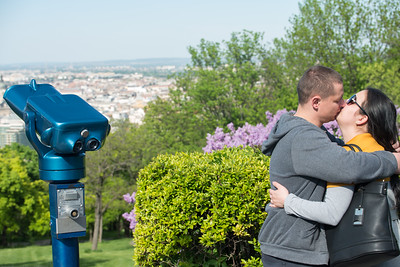 Love is in the air. View of city of Budapest Hungary, from Citadella, Hapsburg Fortress.