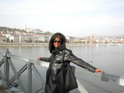 Bev on the bridge between Buda and Pest