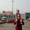 Budapest - With my Niece in a grocery store parking lot