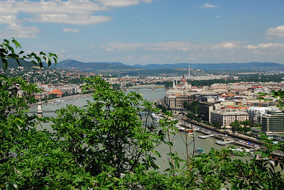 View of the Danube and Pest (on right) from Gellert Hill