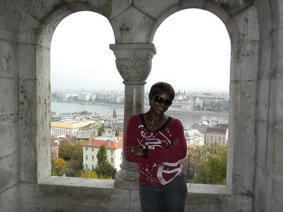 Bev on Fisherman's bastion overlooking Budapest