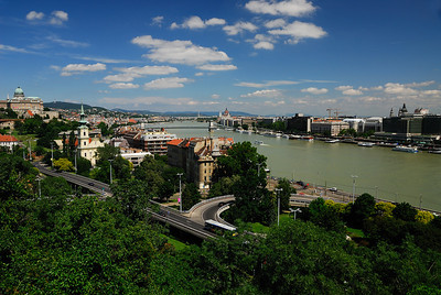 View of Buda (nearest) and Pest from Gellert Hill