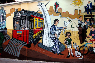Mural painted in a wall of Caballito city district shows tramway images, Buenos Aires, Argentina, December 17, 2005. (Austral Foto/Renzo Gostoli)