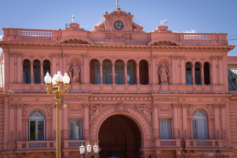 "The Casa Rosada - aka ""Pink House"" - is the official office and mansion of the President of Argentina. The 2nd floor balcony, center, is where Evita Peron made many of her speeches - both in real life, and the musical."