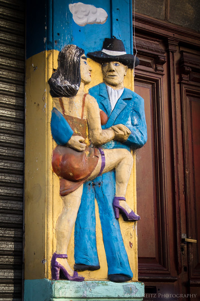 El Caminito - a street in the La Boca district of Buenos Aires, known for colorful houses and street artists.