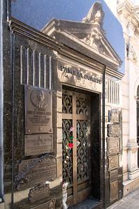 Grave site of Evita Duarte Peron in Recoleta Cemetery, Bueno Aires.