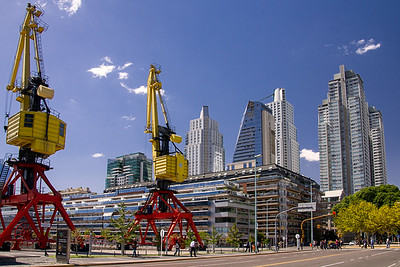 Puerto Madero is the newest, most modern district in Buenos Aires. Loading cranes are still a common sight along this former industrial port area.