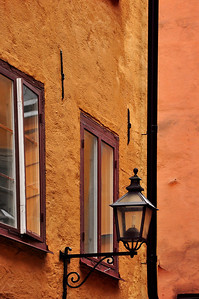 Wall Lamp in Gamla Stan Area of Stockholm, Sweden
