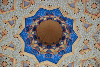 The ornate ceiling of the Bakhouddin Nakshbandi mosque