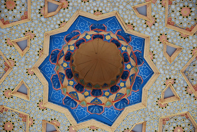 The ornate ceiling of the Bakhouddin Nakshbandi mosque