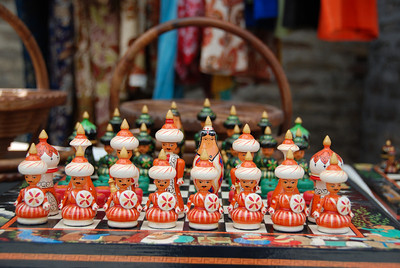Chess set for sale in the bazaar in Bukhara.