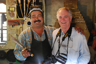 Colin, looking less than 100% relaxed, beside the master knife maker of Bukhara, Sayfullo Ikramov.
