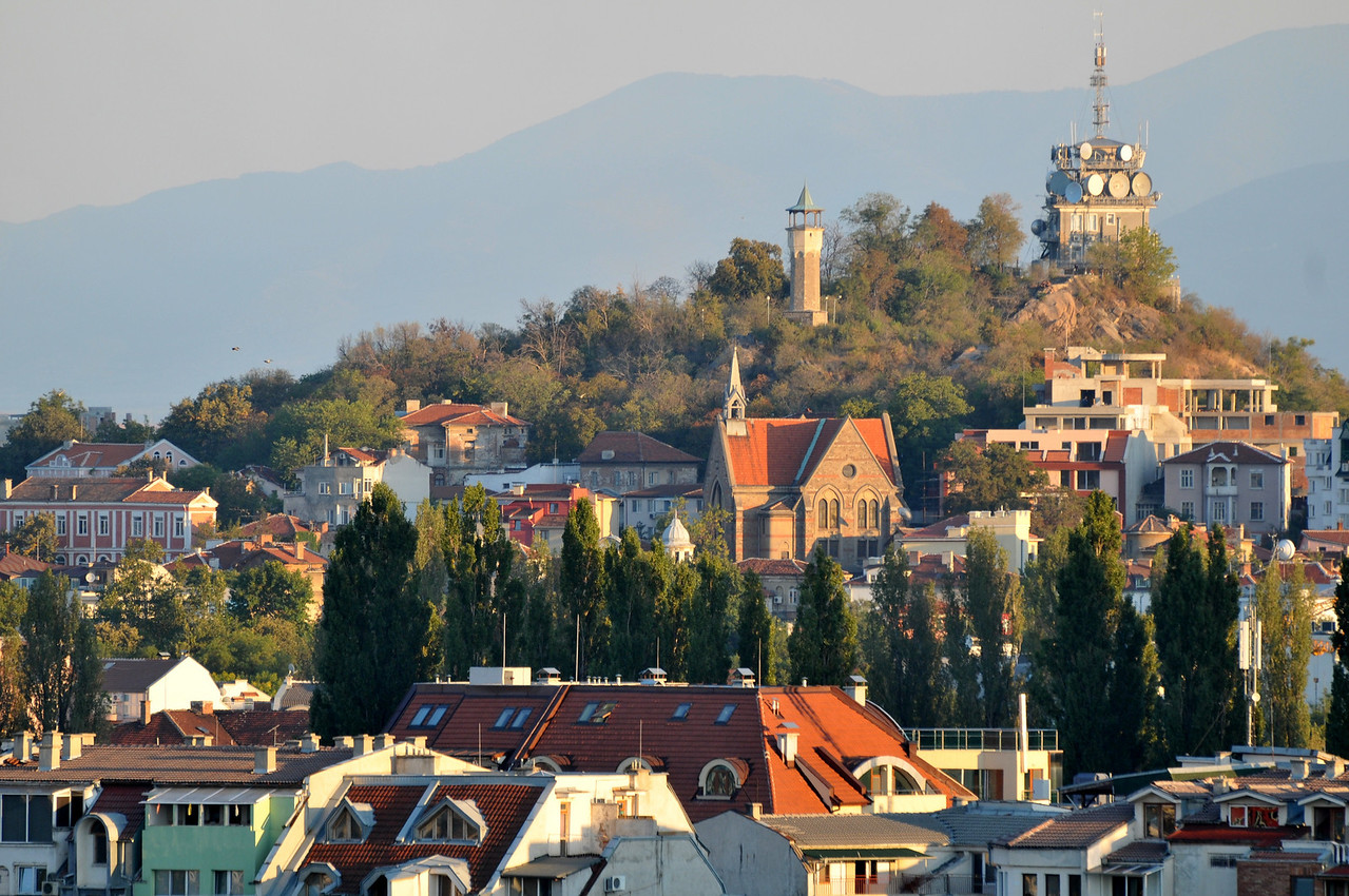 Evening sun over Plovdiv