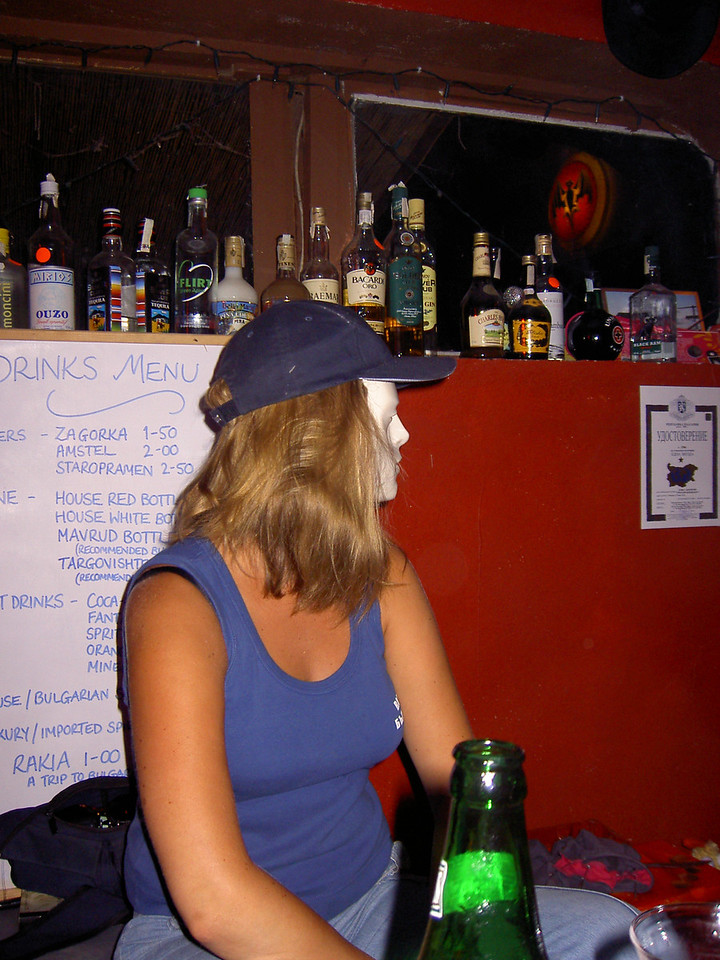 Hat night in the hostel bar: Georgie