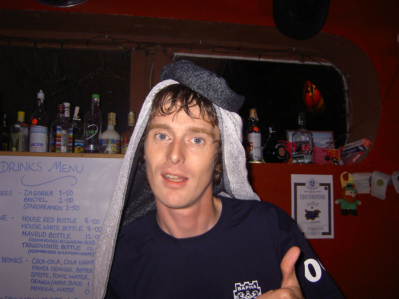Hat night in the hostel bar: Terry
