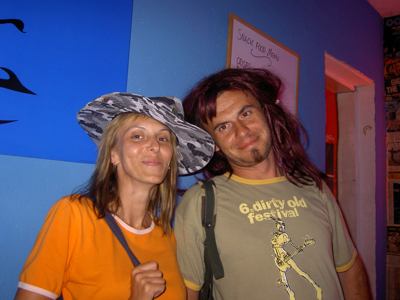 Hat night in the hostel bar: Mihael and Laura from Croatia