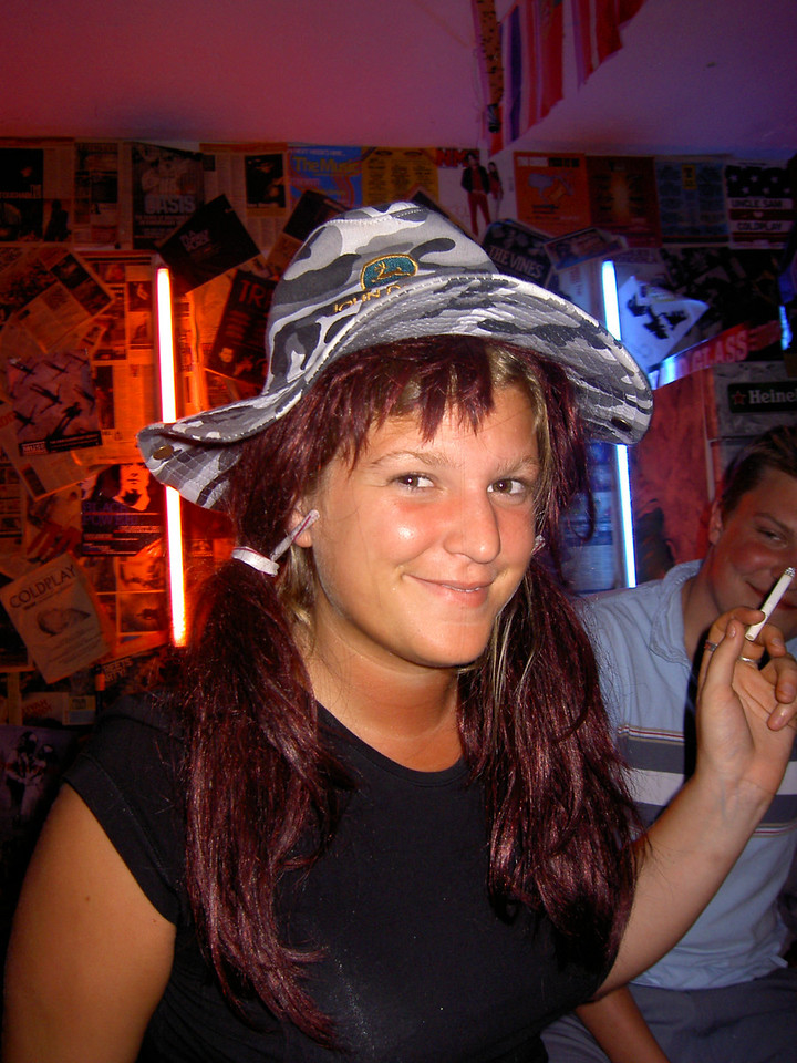 Hat night in the hostel bar: Georgina