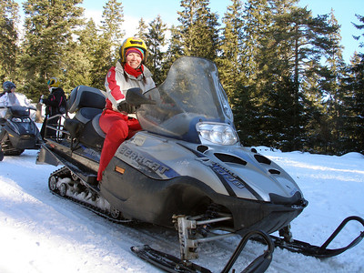 After skiing, a trip through the woods on a skidoo, a Harley Davidson on steroids and nae wheels.