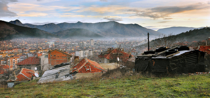 Panoramic view of Sliven, Bulgaria, early morning.