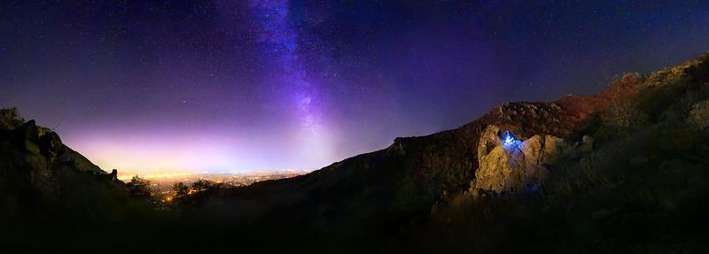 Milky way over sliven, Bulgaria with Halkata stone. Karandlia,.