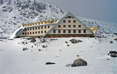 The trek up Musala is popular in summer, and this, close to the hut,  accommodates organised groups.