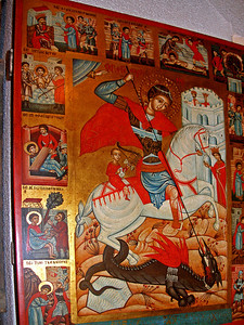 The chapel is dedicated to St George, Bulgaria's patron saint as well as England's. George was a Roman soldier who converted to Christianity, and the marginal panels graphically portray the tortures inflicted to try to make him admit the error of his ways.