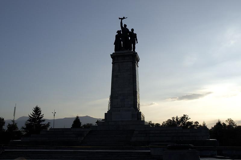 Soviet War Memorial praising the liberation of Bulgaria from Nazi rule...