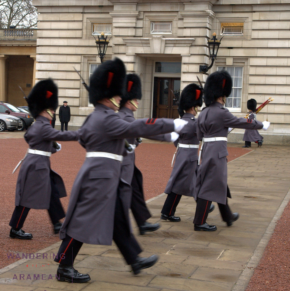 The changing of the guard at Buckingham Palace.