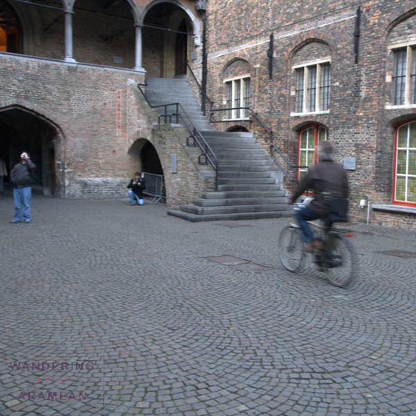 Guy on a bike.  Typical for Belgium.