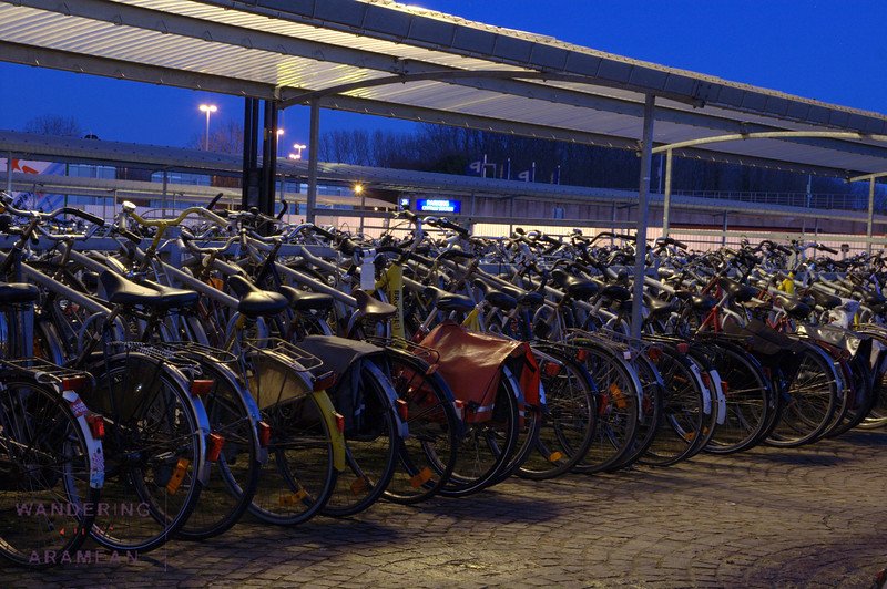 Bicycle parking outside the train station.